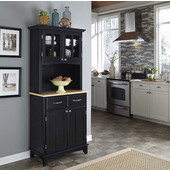 Mix and Match Black buffet server with 2 door hutch and natural top