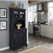Mix and Match Black buffet server with 2 door hutch and cherry top