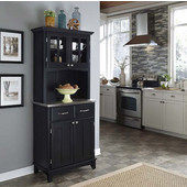 Mix and Match Black buffet server with 2 door hutch and stainless top
