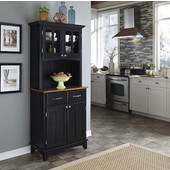 Mix and Match Black buffet server with 2 door hutch and cottage oak top
