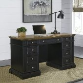 Americana Black Pedestal Desk in Black, 56'' W x 25'' D x 30-3/4'' H