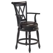 Monarch Traditions Swivel Bar Stool, Black, 22''W x 23-1/4''D x 41-1/2''H