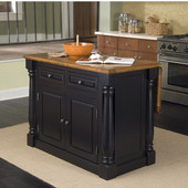 Monarch Kitchen Island, Black & Oak Finish, 48'' W x 25'' D x 36''H