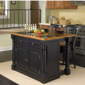 Monarch Kitchen Island with Granite Insert Top & Two Stools, 48'' W x 25'' D x 36''H
