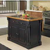 Monarch Kitchen Island with Granite Insert Top, Black & Oak Finish, 48'' W x 25'' D x 36''H