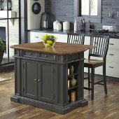48'' Wide Americana Kitchen Island with 2 Stools in Grey, 48'' W x 26'' D x 36'' H