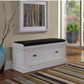 Nantucket Distressed White Upholstered Bench in Distressed White, 47-1/4''W x 18''D x 21''H