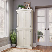 Nantucket Pantry in White Distressed Finish, 71-1/2''H