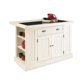 Nantucket Kitchen Island with Black Granite Inlay, 48'' W x 37'' D x 36.25'' H, Distressed White Finish