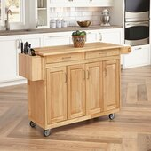 Natural Finish Kitchen Cart with Breakfast Bar, 54'' W x 30-1/4'' D x 36''H