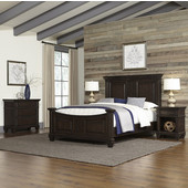 Prairie Home Queen Bed, Two Night Stands, and Chest, Black Oak Finish, 67-1/2''W x 92-1/2''D x 60''H