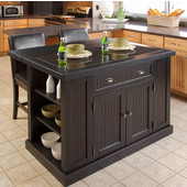 Nantucket Kitchen Island with Black Granite Inlay, 48'' W x 37'' D x 36.25'' H, Distressed Black Finish