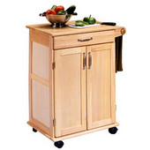 Natural Finish Kitchen Utility Cart with Two Panel Doors, 28-1/2'' W x 18'' D x 34''H