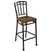 Modern Craftsman Bistro Stool, 18'' W x 22'' D x 46'' H, Oak/Brown