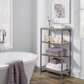 Barnside Metro Four Tier Bath Shelf, Driftwood, 24'' W x 11'' D x 38-1/4'' H
