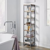 Barnside Metro Seven Tier Bath Shelf Tower, Driftwood, 13'' W x 11'' D x 60-1/4'' H