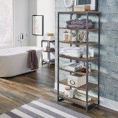 Barnside Metro Seven Tier Bath Shelf , Driftwood, 24'' W x 14'' D x 60'' H