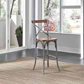 Orleans Bar Stool, Caramel Top and Grey Finish, 17-3/4''W x 21-1/2''D x 46-1/4''H