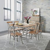 French Quarter 7-Piece Dining Set, Dining Table and (6) Side Chairs, Aged White Washed, 60'' W x 38'' D x 30-1/4'' H