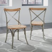 French Quarter Pair of Side Chairs, Aged White Washed, 18'' W x 18'' D x 35'' H