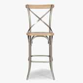 French Quarter Bar Height Stool In White Wash, 17-3/4'W x 21-1/2'D x 46-1/4'H