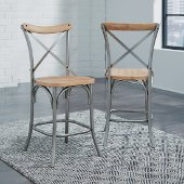 French Quarter Counter Stool, Aged White Washed, 18-1/2'' W x 22'' D x 44'' H