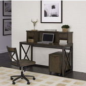 Xcel Office Desk; Hutch; Mobile File & Swivel Chair, Copper Finish, 54''W x 18''D x 43''H