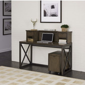 Xcel Office Desk with Hutch & Mobile File, Copper Finish, 54''W x 18''D x 43''H