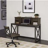 Xcel Office Desk with Hutch & Swivel Chair, Copper Finish, 78''W x 78''D x 43''H