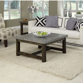 Concrete Chic Square Coffee Table, Brown/Gray, 36'' W x 36'' D x 18'' H