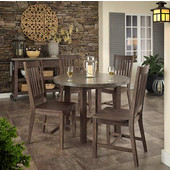 Concrete Chic 5-PC Dining Set (Includes: 1 Round Dining Table and 4 Dining Chairs), Weathered Brown Finish
