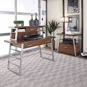 Degree Home Office Desk, Hutch and File Cabinet, Modern Brown