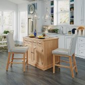 Cambridge Kitchen Island with Wood Top & Two Stools, White Washed, 47-1/4'' W x 30'' D x 36-1/4'' H