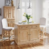 Cambridge Kitchen Island with Quartz Inset Top & Two Stools, White Washed, 47-1/4'' W x 30'' D x 36-1/4'' H