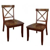 Classic Dining Set of X-Back Design Chairs in Cherry, 19-1/4'' W x 21-1/4'' D x 38-1/4'' H, Set of 2