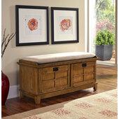 Arts & Crafts Cottage Oak Upholstered Bench, 47-1/4''W x 18''D x  21''H