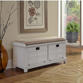 Arts & Crafts White Upholstered Bench, 47-1/4''W x 18''D x  21''H