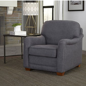 Magean Stationary Upholstered Chair with Charles of London Arm Style in Grey