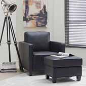 Taylor Upholstered Club Chair and Ottoman, Black, Chair: 32-1/4''W x 35''D x 34-1/2''H, Ottoman: 24''W x 18''D x 17-3/4''H