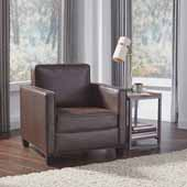Bradley Upholstered Club Chair, Dark Brown, 32-1/4''W x 35''D x 34-1/2''H