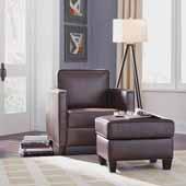 Bradley Upholstered Club Chair and Ottoman, Dark Brown, Chair: 32-1/4''W x 35''D x 34-1/2''H, Ottoman: 24''W x 18''D x 17-3/4''H