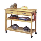 Natural Finish Solid Wood Top Kitchen Cart , 44'' W x 20-1/2'' D x 36''H