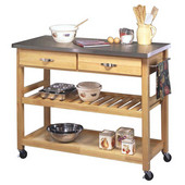Stainless Steel Top Kitchen Cart  , 44'' W x 20-1/2'' D x 36'' H