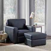 Alex Upholstered Contemporary Chair & Ottoman, Black, Chair: 37-3/4''W x 34-1/2''D x 34-1/2''H, Ottoman: 24-1/4''W x 20-1/2''D x 17-1/4''H