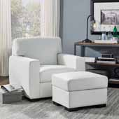 Erin Upholstered Contemporary Chair and Ottoman, Ivory, Chair: 37-3/4''W x 34-1/2''D x 34-1/2''H, Ottoman: 24-1/4''W x 20-1/2''D x 17-1/4''H