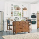 48'' Wide Tahoe Kitchen Island and 2 Stools in Aged Maple, 48'' W x 25'' D x 36'' H