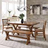 Sedona Rectangular Trestle 5-Piece Dining Set With Table with 2 Benches and 2 Chairs In Toffee, 60''W x 38-1/4''D x 30''H