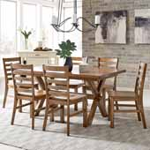 Sedona Rectangular Trestle 7-Piece Dining Set With Table & 6 Chairs In Toffee, 60''W x 38-1/4''D x 30''H