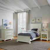 Dover Twin Bed, Night Stand and Chest, White