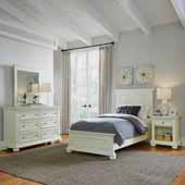 Dover Twin Bed, Night Stand and Dresser with Mirror, White
